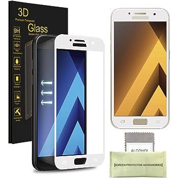 Samsung Galaxy A5 (2017) Pellicola Protettiva, AKPATI Temperato di Protezione in Vetro Dello Schermo 3D Toccare Alta Definizione Anti-Explosion Schermo Protezione - Bianca