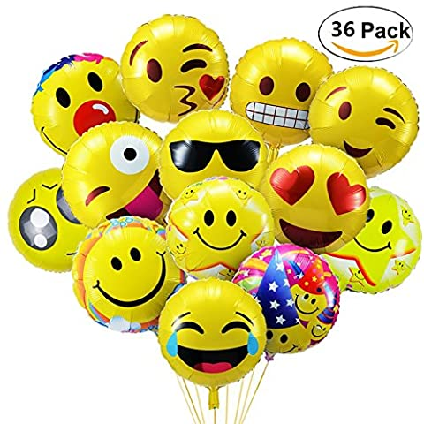 Emoji Party Balloons,BCMRUN Pack of 36 18 inches Foil Helium Balloons Reusable Yellow Funny Faces Balloons for Happy Birthday Weddings Party Anniversary Supplies Decorations