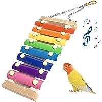 FOXNSK Jouets pour Oiseaux Jouet de Xylophone Poule en Bois 8 Touches Métalliques Suspensibles pour Poules Oiseau de…