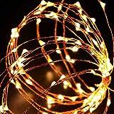 Luces en cuerda,Ryham 16.4 pies / 5M 50 mini fiesta de Navidad decorativo LED luces de la secuencia estrellada de alambre para la boda vacacional Pub Club, 3xAA baterías Powered,amarillo
