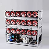 19 GPU Miner Case With 18 Red Fans, Aluminum Stackable Mining Rig Open Air Frame For Ethereum(ETH)/ETC/ ZCash...