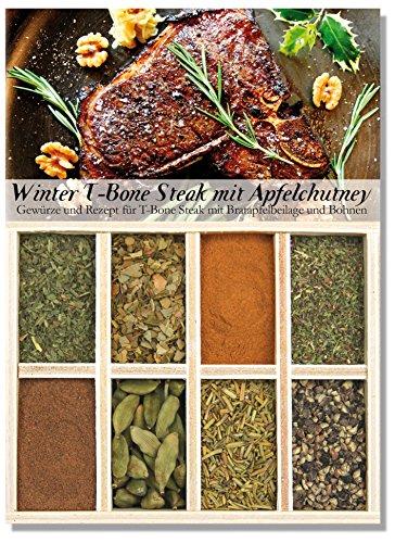 Winter T-Bone mit Bratapfel-Chutney – 8 Gewürze für T-Bone Steaks mit Bratapfelbeilage und...