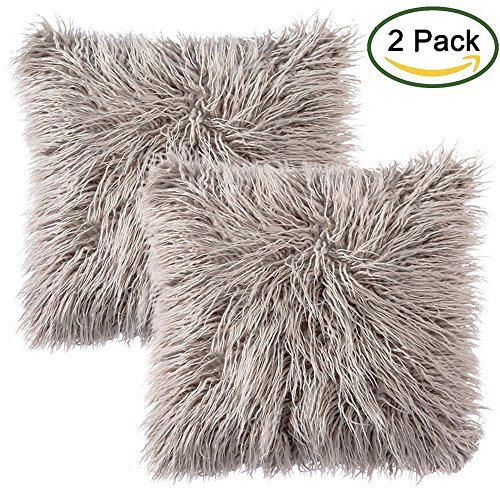Faux Fur Throw Funda de cojín, LIVEBOX Deluxe Home Decorativo Super Soft Plush Mongolia Faux Fur Throw Pillow Funda Funda de cojín 20 x 20 pulgadas, paquete de 2 Gris sin inserciones