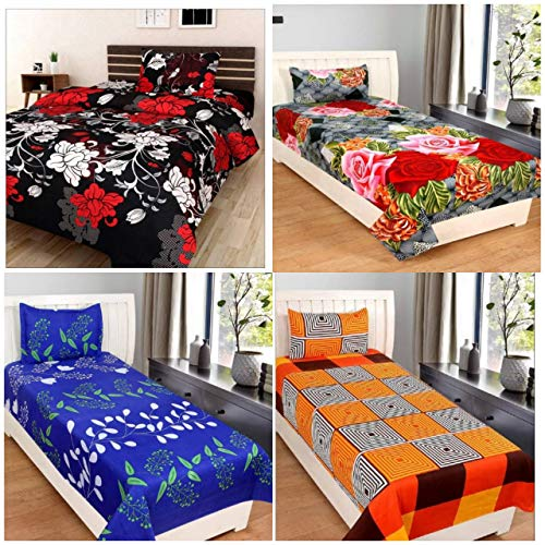 RS Home Furnishing 3D Printed 4 Single Bedsheets Combo with 4 Pillow Covers size-90x60