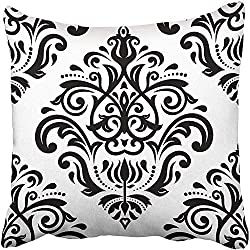 CHSUNHEY Fodera per Cuscino Decorativo White Oriental Light Pattern with Black Damask Arabesque And Floral Abstract Baroque Pillowcase Case 18x18 inch,Eco-Friendly Print