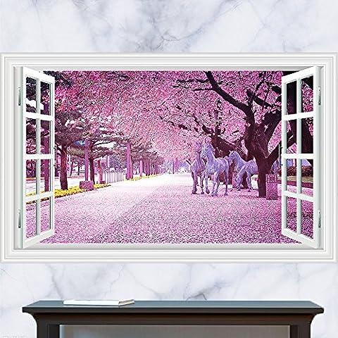 3D Cerisiers en trois dimensions fenêtres Nature Purple Dream stickers muraux décoratifs de la mode maison autocollant x 60 cm 90 cm