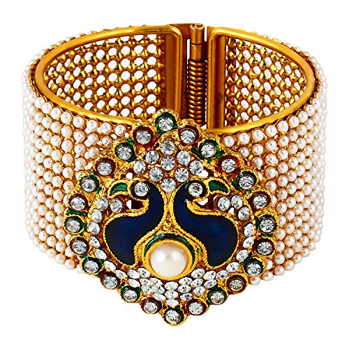 Panash Gold Grace Ethnic Dancing Peacock Bangle for Women (Adjustable Size)  available at amazon for Rs.249