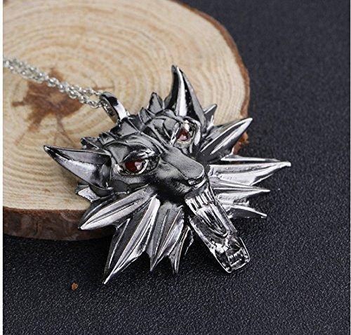 2018 Witcher - Collar con colgante de medallón, diseño de lobo