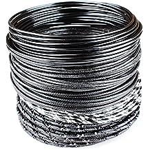 Creacraft 25 mètres fil aluminium pour perlage et bijoux: cinq styles de noir - notamment métallique, diamant-effets et plus - aluminium artisanat fil 2mm