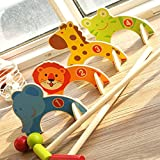 2 Schlägel, 2 Bälle, 4 Tier Tore Tierform Kricket Minigolf Set Kinder Outdoor Garten Spielzeug