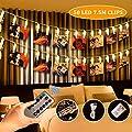 SanGlory 50 LEDs Foto Clips Lichterketten,7.5M LED Fotolichterkette Warmweiß 8 Modi Clip Bilder Lichterkette Batteriebetrieben für Party, Weihnachten, Dekoration,Hochzeit