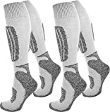 normani 2 Paar Skisocken/Ski-Kniestrümpfe mit Spezialpolsterung und Schafwollanteil Farbe Grau-Weiss Größe 43/46