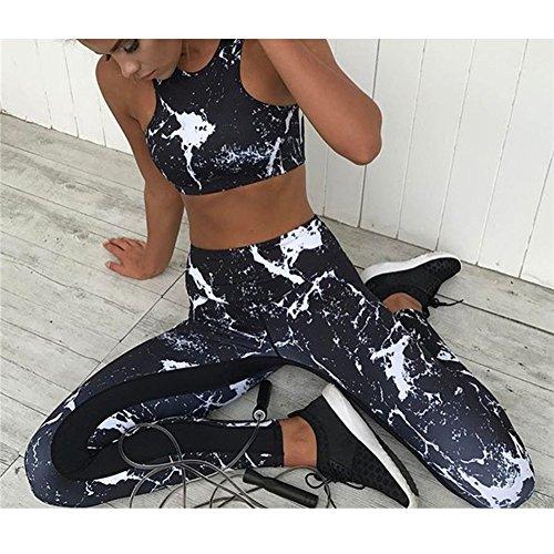 Femmes Yoga Tenue Survêtements Aptitude Soutien-gorge + Leggings Pantalon Sans Couture Collants Tenue Sport Imprimé Faire Exercices Joggeur Tennis Gym Costume Outwear Shapewear Noir S - L Meedot Noir