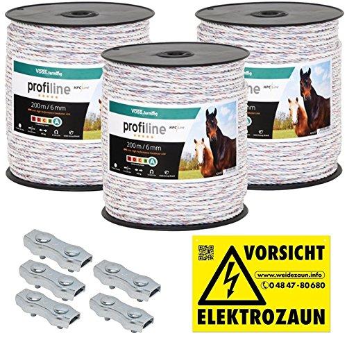 *600m Kunststoffseil 6mm mit Seilverbindern Weidezaunseil Weidezaun Litze Kordel für Pferdezaun Pferdekoppel*