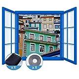 Rabbitgoo Fliegengitter für Fenster Insektenschutz mit Selbstklebendem Klettband Moskitonetz Durchsichtig Schwarz 130x150CM