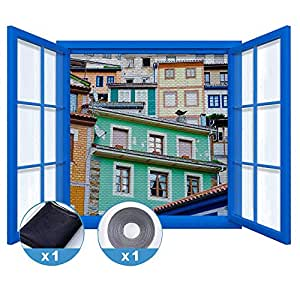 rabbitgoo fliegengitter f r fenster insektenschutz mit selbstklebendem klettband moskitonetz. Black Bedroom Furniture Sets. Home Design Ideas
