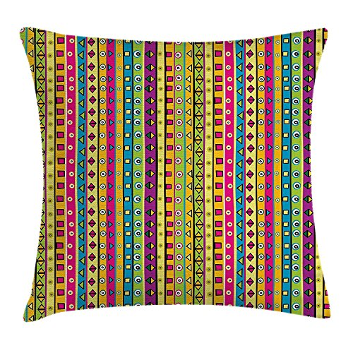 Print-dekorative Wurfs-kissen (Retro Throw Pillow Cushion Cover, Colorful Striped Abstract Pattern Triangles Squares and Kaleidoscope Fun Shapes Art Print, Decorative Square Accent Pillow Case, 18 X 18 Inches, Multi)