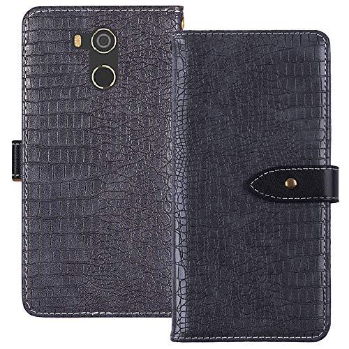 YLYH HandyHülle Für BluBoo D5 Pro 5.5 inch Leder Tasche Cover Flip Brief Schütz Hülle Abdeckung Case Etüi Standfunktion Grau