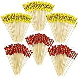 COM de Four® 216x Cóctel Brochetas con perlas de fiesta, Picker con perlas rojas y amarillas, 12cm