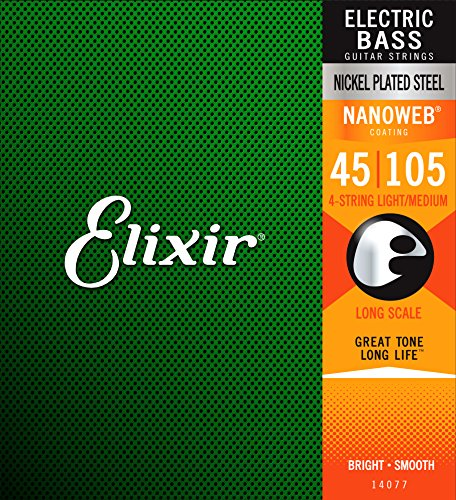 Elixir 14077 Electric Bass Saiten 4 Medium Long Scale Nanoweb Coating - Electric Bass 5-string