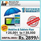 Warranty Plus 1 Year Extended Warranty on all Mobiles & Tablets Price Range (25001 to 35000)