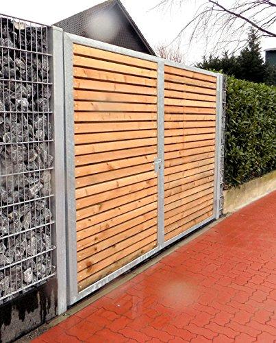 Einfahrtstor / Einbau-Breite 500cm / Einbau-Höhe 160cm / 2-flügelig / Holz-Füllung / Symmetrische Aufteilung / Verzinkt / Holz Tor Gartentor Holztor