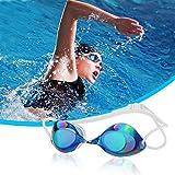 Occhiali da Nuoto, CompraFun Occhialini da Nuoto Professionali Protezione Anti-nebbia ad Alta Definizione Regolabile con Silicone di Qualità Adatto per Bambini e Adulti (Blu)