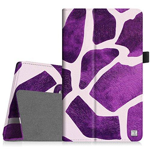 [Eckenschutz] Fintie Samsung Galaxy Tab 3 7.0 Lite T110 T111 T113 T116 Hülle Case - Slim Fit Folio Bookstyle Kunstleder Schutzhülle Cover Tasche mit Ständerfunktion für Tab 3 Lite 7.0 Zoll Tablet, Giraffe Lila