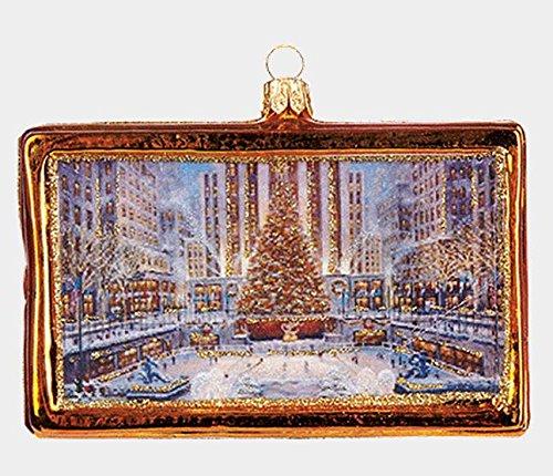 Pinnacle Peak Trading Company Rockefeller Center New York Picture Frame Polish Blown Glass Christmas Ornament - Peak Center