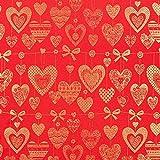 Fabulous Fabrics Weihnachtsstoff goldene Herzen – rot — Meterware ab 0,5m — Oeko-Tex Standard 100 — zum Nähen von Outdoor-Deko, Tischdekorationen und Kissen und Tagesdecken