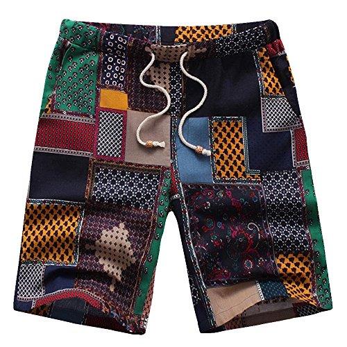 Goldatila Herren Shorts Herren Holiday Hawaiian Shirt Strandhemden Normale Passform Hosen Herren Badehose Schnell Trockene Passform Leistung Surfen Shorts mit Taschen