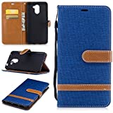 Meet de Huawei Y7,Luxury Slim PU Leather Flip Protective Magnetic Wallet Cover Case,With Stand Function and Credit Card Slot - Cowboy Blue