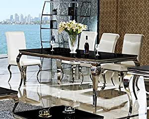 Table 200 x 100 x 76 lara noir table de salle à manger design en verre et acier inoxydable style baroque de bureau-chrome/verre