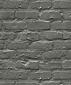 Effet brique Gris anthracite laqué-Urban-Retro-Papier peint