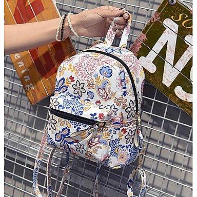 Frauen Rucksack Nylon All Seasons Casual Runde Reißverschluss Weiß Grün Blau White