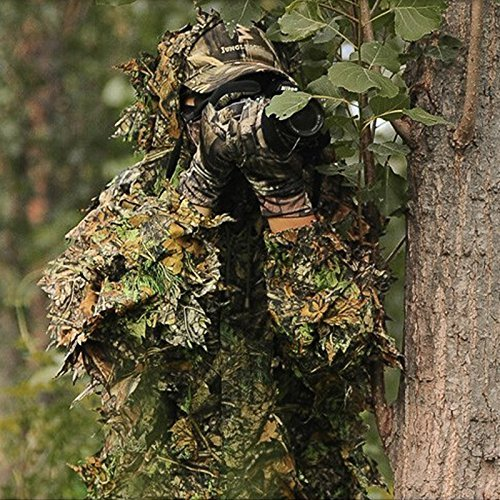 amouflage Maple Leaf Kapuzen 3D Bionic Training Uniform Militär Sniper Umhang Camouflage Kleidung Jagd Shooting Airsoft Wildlife Fotografie oder Halloween (Ghillie-suit Halloween)
