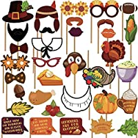 Sayala 36Piezas Photo Booth Props Kit,Thanksgiving Photo Booth Props Decoraciones,Turkey Maple Leaf Decoration Thanksgiving Farm Party Photo Props