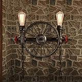 JiaYouJia Loft Industriel Rétro 2 Luminaires Applique Lampe de Mur Murale à Tuyau d'eau en Métal et Roue Antique
