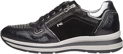 Nero Giardini A806572D Sneakers Donna in Pelle, Camoscio E Tela