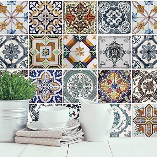 """""""mediterráneo azulejos"""" autoadhesivo de pared pegatinas murales nursery oficina decoración del hogar, pack de 4"""