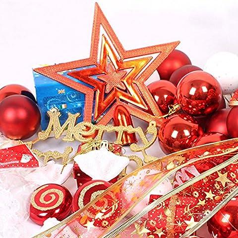 CreaTion® 155 Kit Decorazione albero di Natale Pz tra cui quasi Ornamenti per le vacanze di Natale Alberi di nozze Feste Decorazioni dell'albero (Rosso)