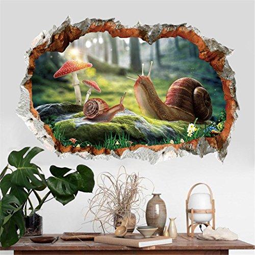 56ee5a79537b69 Moonuy Autocollant Mural 3D Animaux Mignons Décalcomanies Murales Amovibles  Vinyle Art Room Decor Stickers muraux escargot