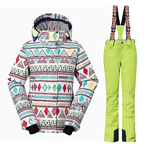 Wonny 2 Teilig Skianzug Wasserdicht Schneeanzug Jacke und Hosen Unisex Skiset Grün S
