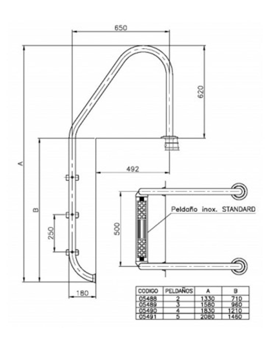 Jardin202 – Escalera – 4 PELDAÑOS – Astralpool