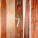 Wallario Glas-Uhr Echtglas Wanduhr Motivuhr • in Premium-Qualität • Größe: 30x30cm • Motiv: Holzmuster - Oberfläche mit Holzmaserung VIII