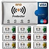 TRAVANDO ® RFID Schutzhülle Set (10 Stück) für Bankkarte, EC-Karte, Personalausweis, Kreditkarten - 100% Datenschutz durch Kreditkartenhülle / Kartenschutzhülle + 10 Farb-Sticker + GRATIS E-Book