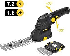 Akku Gras- und Strauchschere, 7.2V TECCPO Akku Gras- und Strauchschere Set Isio 1.5Ah, USB schnell Laden 80min, drehbarer Griff, Schnittbreite 90mm, Grasschere Strauchschere 2 in einem - TDGS03G