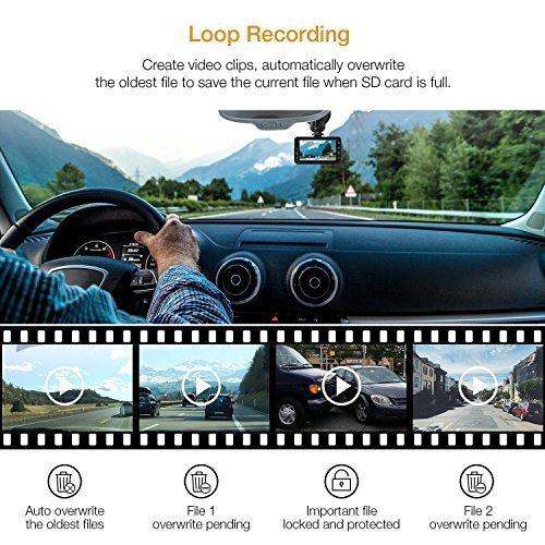 Busuo – Telecamera da cruscotto Full HD 1080P, schermo LCD da 3″, grandangolare da 170°, con sensore G, WDR, registrazione in loop, colore: Nero