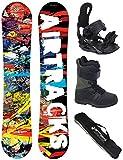 AIRTRACKS Snowboard Set / Board Graffiti Wide Flat Rocker 159 + Snowboard Bindung Star + Boots Star Black 46 + Sb Bag