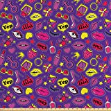 ABAKUHAUS Emoji Tissu au mètre, 90S Comics pour Les Femmes, Tissu Satin Décoratif pour Les Textiles de Maison et Les Artisanats, 10M (160x1000cm), Multicolore